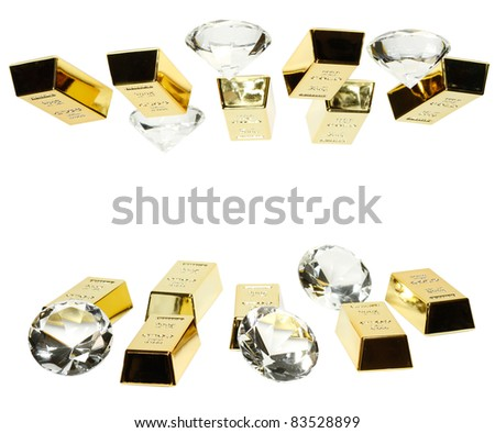 Gold bars and diamonds are together on the picture. - stock photo