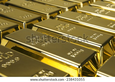 Gold bars and Financial concept, studio shots  - stock photo