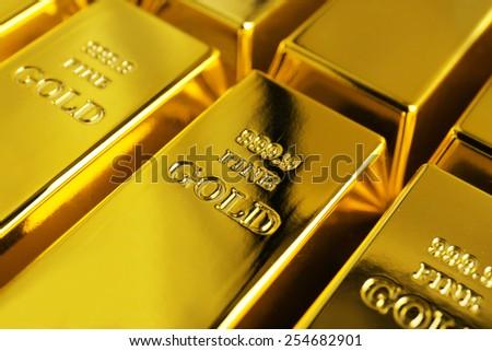 Gold bars close-up - stock photo
