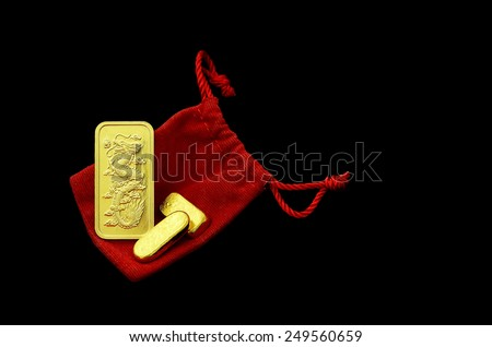 gold bars dragon sculpture isolated on white background for chinese new year - stock photo