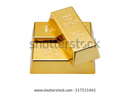 Gold bars 200 g on white background (Clipping path) - stock photo