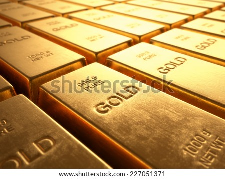 Gold Bars 1000 grams. Concept of wealth and reserve. - stock photo