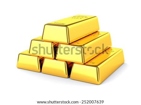Gold bars. Group golden ingots isolated on white background. Banking and investment concept. - stock photo