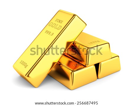 Gold bars. Group of golden ingots isolated on white background. Banking and investment concept. - stock photo