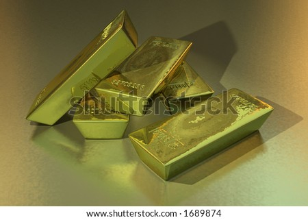 Gold bars in a golden setting - stock photo
