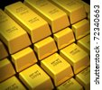 Gold bars in a group representing commodities trading for wealth and the banking system symbol. - stock photo