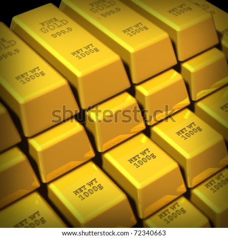 Gold Bars Group Representing Commodities Trading Stock Illustration