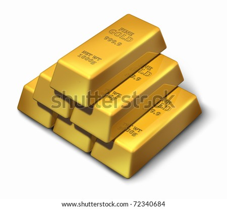 Gold bars in a pyramid formation representing wealth and savings. - stock photo