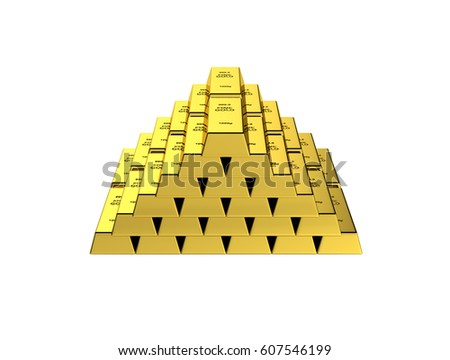 Gold bars in a pyramid without shadow on white background 3d