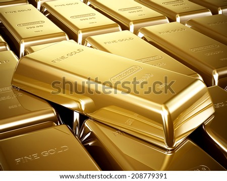 Gold bars in a stack