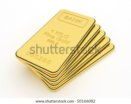 Gold bars in a stack - stock photo