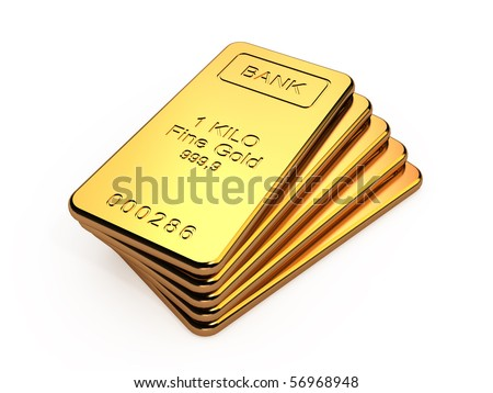 Gold bars in a stack isolated on white background - stock photo