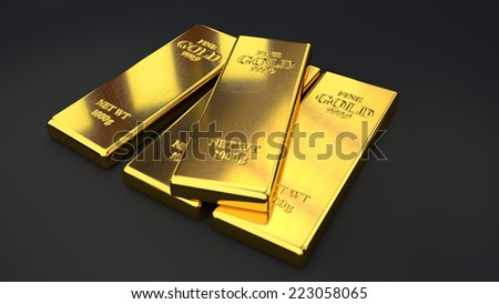 Gold bars, ingot - stock photo