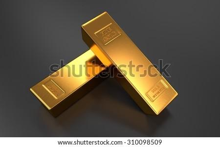 Gold bars, ingot - stock photo