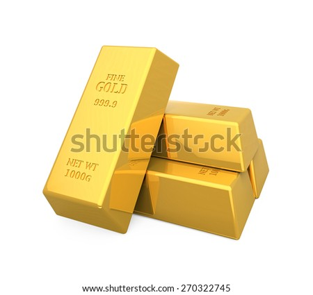 Gold Bars Isolated - stock photo