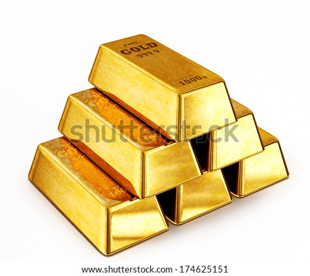 gold bars isolated on a white background - stock photo