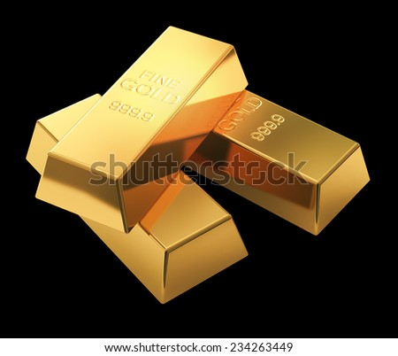 Gold bars isolated on black - stock photo