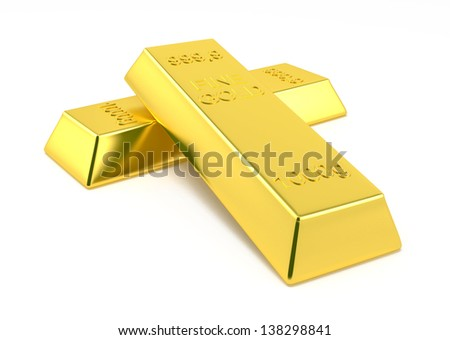 gold bars isolated on white background