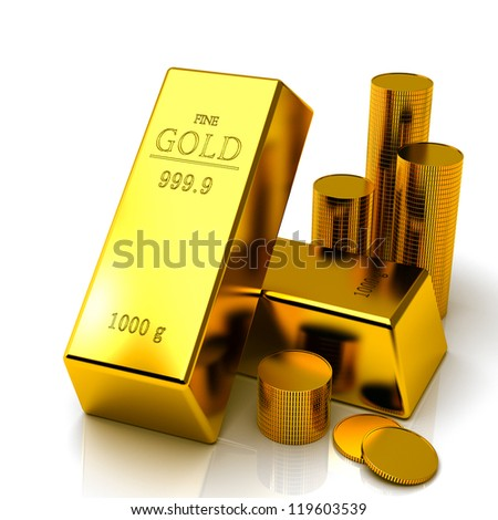 gold bars isolated on white background 3d - stock photo