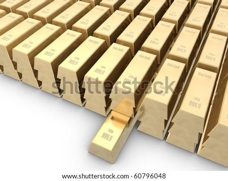 Gold bars isolated on white space - stock photo