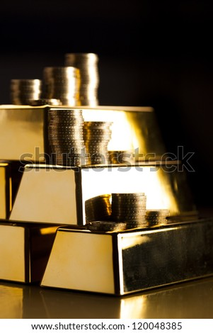 Gold bars! Money and financial - stock photo