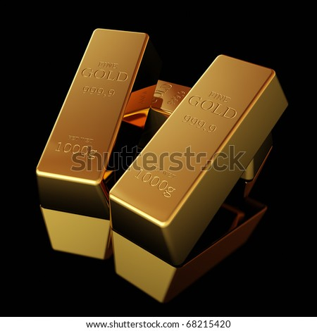 Gold bars on black  surface - stock photo
