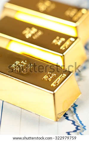 Gold bars on graphs and statistics.