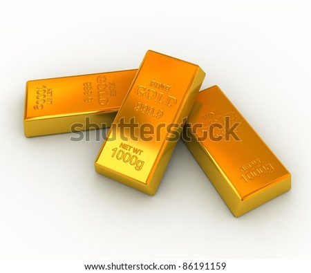 Gold bars on the white background - stock photo