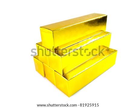 Gold bars on white background - stock photo