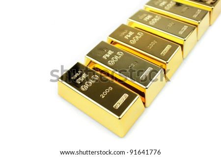 Gold bars on white background - stock photo