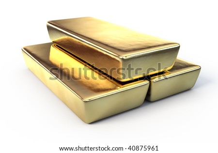 Gold bars on white surface - stock photo