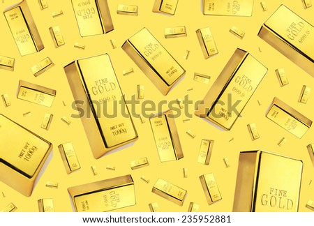 Gold bars rain on golden background  - stock photo