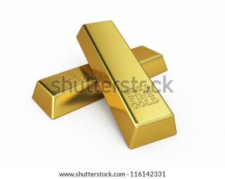 Gold Bars render (isolated on white and clipping path) - stock photo