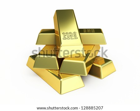 Gold Bars render (isolated on white and clipping path)