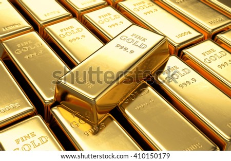 Gold bars stack and single ingot above. Financial success, business investment and wealth concept. 3D illustration