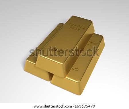 Gold Bars Stack of 3 goldbars in pyramid formation. - stock photo