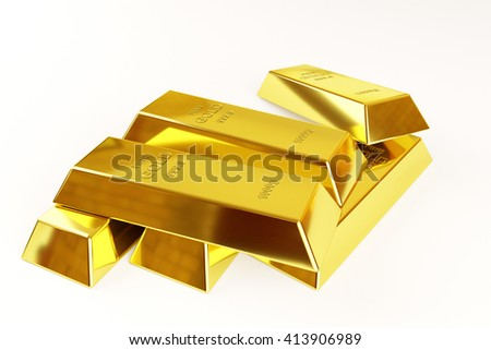 gold bars stack on a white background, 3d rendering - stock photo