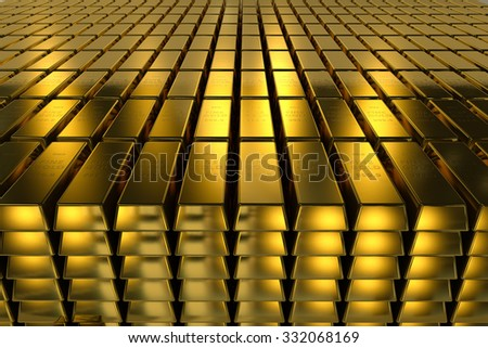 Gold bars three dimension concept millionaire business Background - stock photo