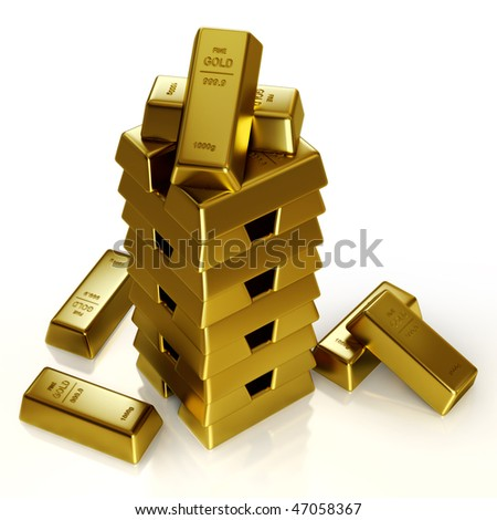Gold bars tower - stock photo
