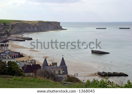 Gold Beach (Arromanches) - D-Day landing site and artificial harbor of allied forces. - stock photo