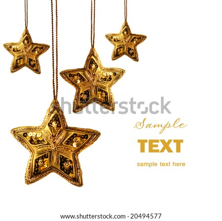 Gold beaded stars isolated on white background - stock photo