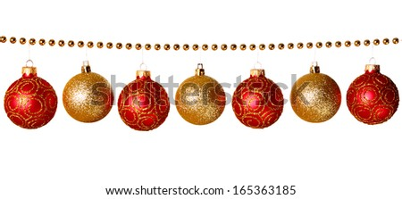 Gold beads garland with balls isolated on white background  - stock photo