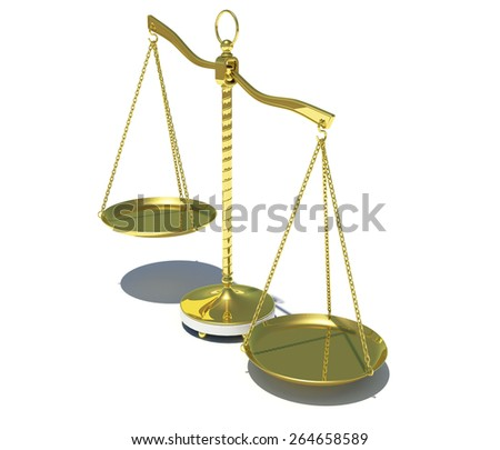 Gold beam balance with shadow. Isolated on white background. Concept of fair trial - stock photo