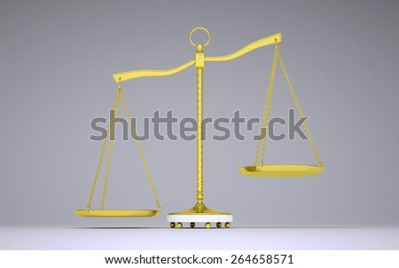 Gold beam balance with shadow. Left bowl below. Front view. Gray background - stock photo