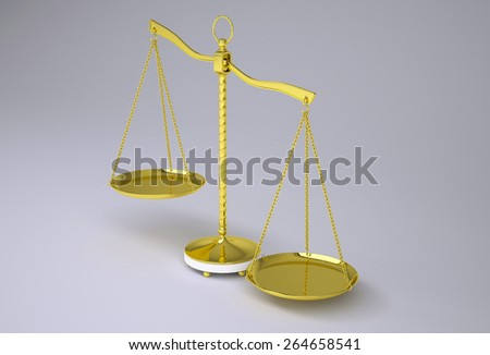 Gold beam balance with shadow. Perspective view. Gray background - stock photo