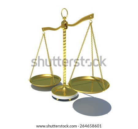 Gold beam balance with shadow. Perspective view. Isolated on white background - stock photo