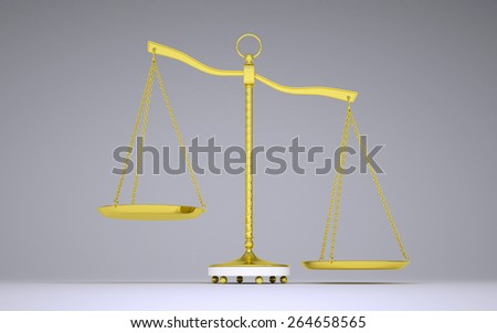 Gold beam balance with shadow. Right bowl below. Front view. Gray background - stock photo