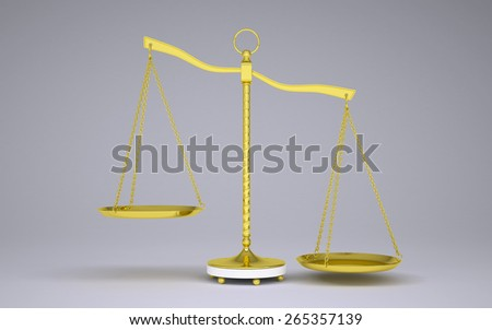 Gold beam balance with shadow. Right bowl below. Gray background - stock photo