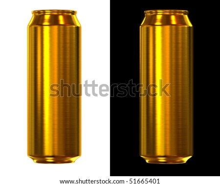 gold beer can isolated on white and black background