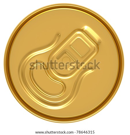 gold beer can top view isolated on white background